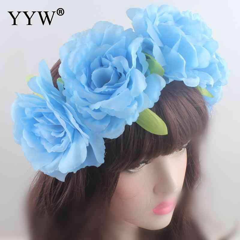 Hair Accessories Wedding Headband Garland Rose Artificial Flower Silk Hair Bands For Bride Bridesmaid Elastic Headbands Headwear