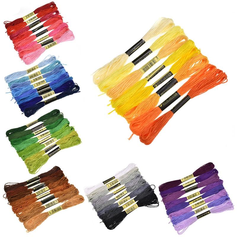 Écheveaux de couture pour le point de croix, fils de broderie de couleur similaire en coton, 8 pièces/lot, accessoires de couture artisanaux