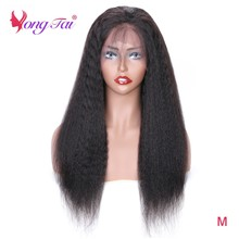 YuYongtai Malaysian Kinky Straight 360 Lace Frontal Wig Human Hair Wigs For Women 250 Density Full Lace Wig Remy Medium Ratio(China)
