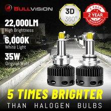 Bullvision 22000LM H7 LED Faróis Do Carro ESCONDEU D1S D2S D3S D4S D2H Balastros 360 Graus CSP Chips H1 H11 HB3 HB4 9005 9006 H8 H9