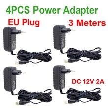 4 шт. 3 м кабель ЕС вилка AC/DC адаптер питания зарядное устройство 3M кабель питания для камеры видеонаблюдения AC 100 240 В DC 12 В 2A (2,1 мм * 5,5 мм)