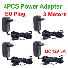 4 Uds. De Cable de 3 metros, enchufe europeo, cargador de CA/CC/adaptador de corriente 3 M, Cable de alimentación para cámara CCTV AC 100 240V DC 12V 2A (2,1mm * 5,5mm)