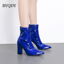 BYQDY New 2020 Woman Shoes Patent Leather Ankle Boots Zipper Knights Boot Fashion Pointed Toe Heels Short Zapatos mujer