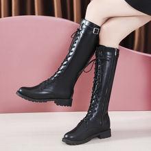 Кожаные сапоги до колена; Женская обувь на низком квадратном