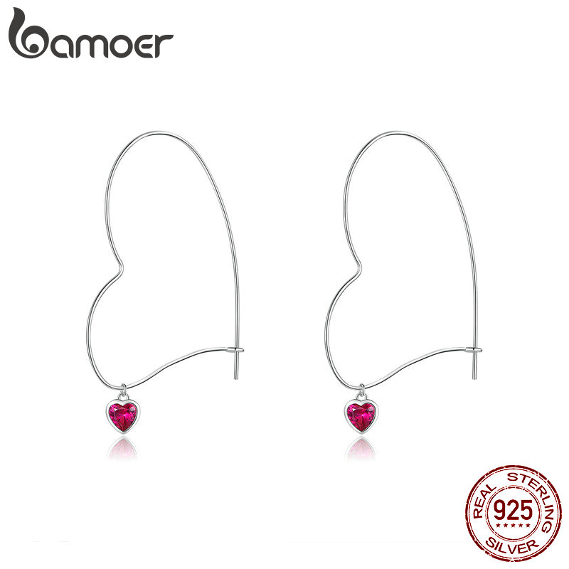 Bamoer Big Hoop Heart Shape Earrings For Women Cubic Zirconia Heart-shape Earing 925 Sterling Silver Fashion Jewelry BSE214
