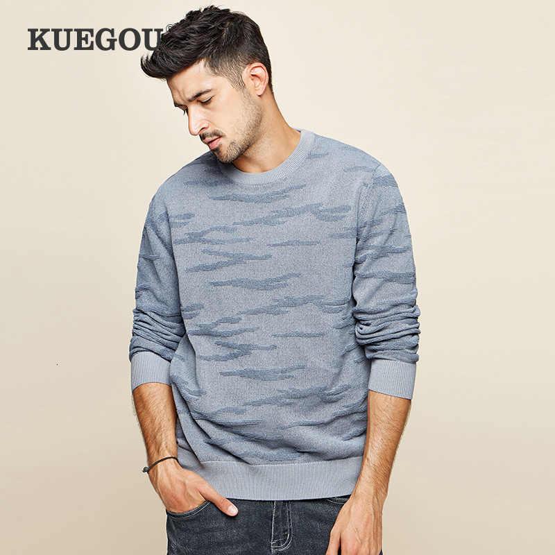 Kuegou 2019 outono algodão simples preto camisola dos homens pulôver casual jumper para o uso masculino marca de malha estilo coreano roupas 12672