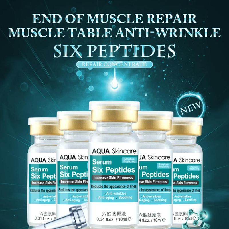 Six Peptides Face Serum Liquid Hyaluronic Acid And Anti-wrinkles Whitening Collagen Face Lift Skin Care Cream