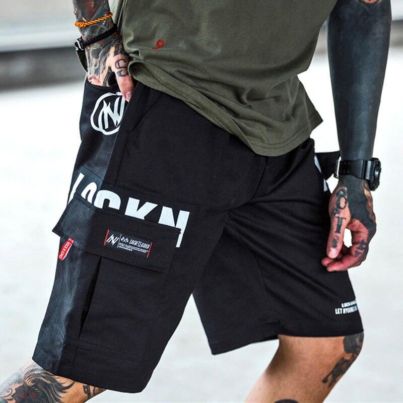 Fashion Knee Length Short Joggers Men Summer Streetwear Hip Hop Casual Cargo Shorts MenLetter Print Camouflage Print Shorts Men