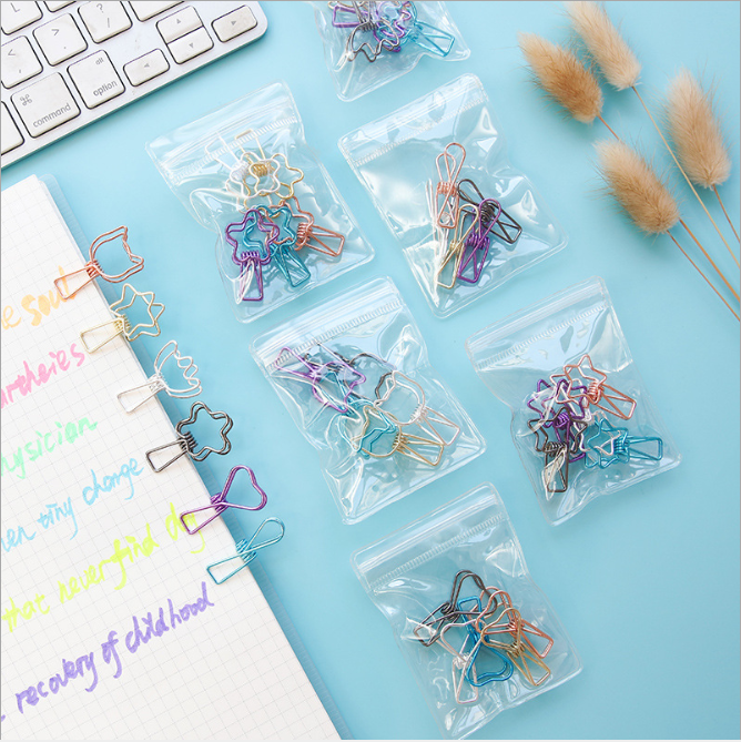 Clips Binder Paper Clips Paperclips Pink Iron Cute Kawaii School Stationery Office Supplies Girl Mini Decoration Hollowing Out