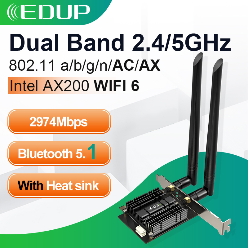 Edup 2974Mbps Wifi6 Pcie Draadloze Wifi Adapter Bluetooth 5.1 Intel AX200 Dual Band 2.4G/5Ghz Pci express 802.11AX Wifi 6 Adapter