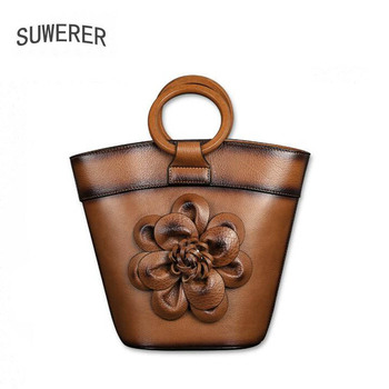 SUWERER 2020 New Women Genuine Leather bag fashion real cowhide bag women famous brand leather Luxury handbags Embossed bag