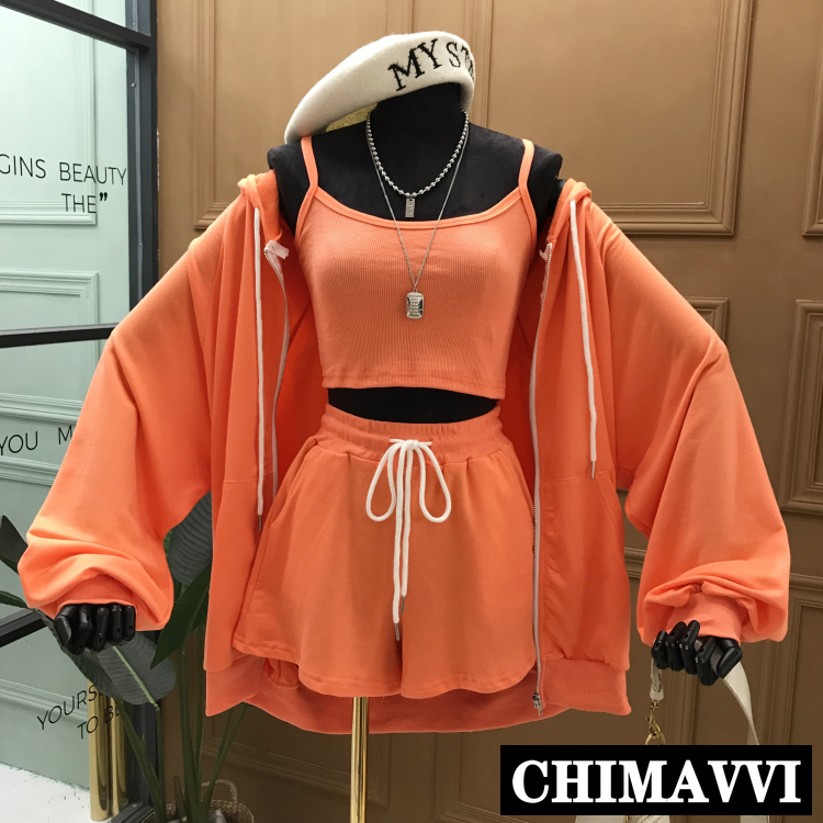 Korean 2020 Summer New Sports Set Casual Hooded Coat Jacket + Small Vest+ Loose Shorts Three-Piece Set Women Sportswear
