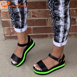 Brand Design Fashionable High Quality Shoes Women INS Hot Sale Sandals Ankle Straps Multicolor Wedges Heels Summer Big Size 43