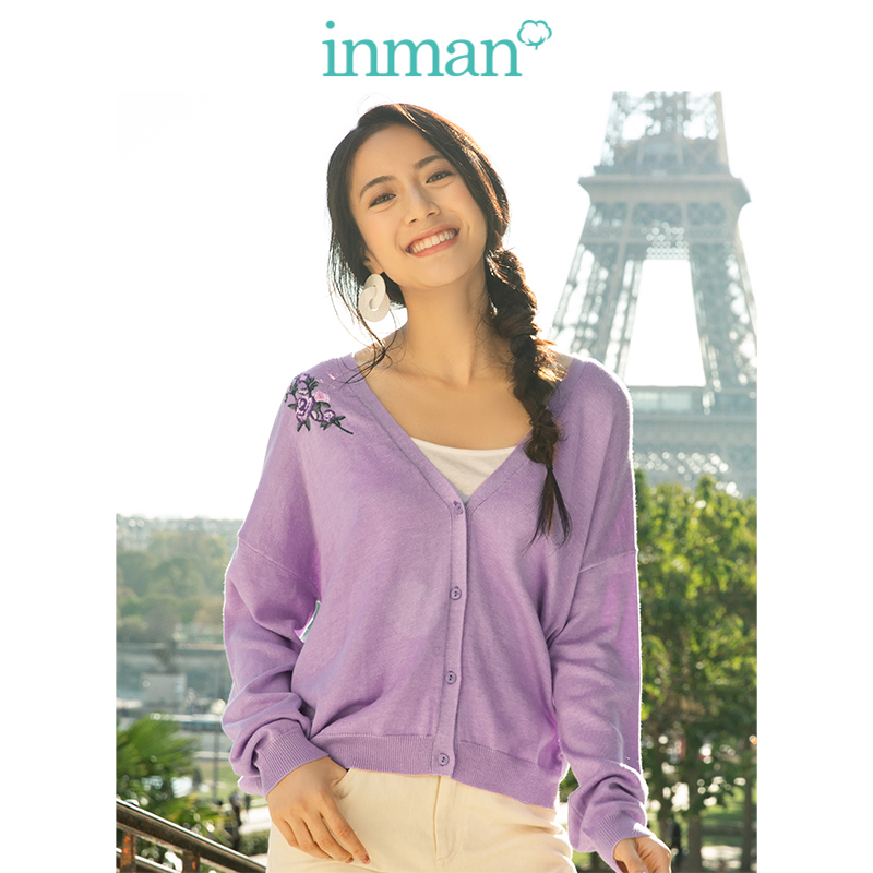 INMAN  V-neck Literary Embroidery Retro Fashion All Matched Short Women Cardigan