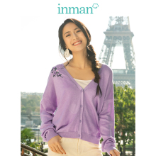 INMAN  V neck Literary Embroidery Retro Fashion All Matched Short Women Cardigan