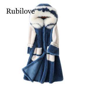 Image 2 - Delle donne 2020 di Inverno collo di Pelliccia di Volpe Con Cappuccio Faux Cappotto di Pelliccia Femminile Naturale Tosatura Delle Pecore Lungo Cappotto Giacca di Lana