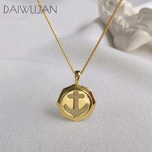 DAIWUJAN Original 925 Sterling Sliver Micro Zircon Anchor Pendant Necklaces For Women Gold Round Charms Necklace Jewelry 2019(China)