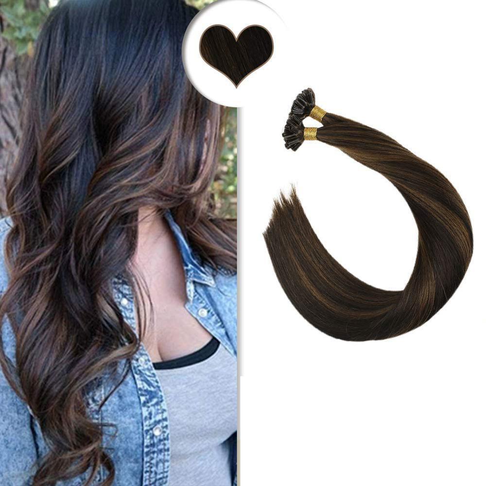Ugeat Nail/U Tip Hair Extensions Brazilian Human Hair 14-24