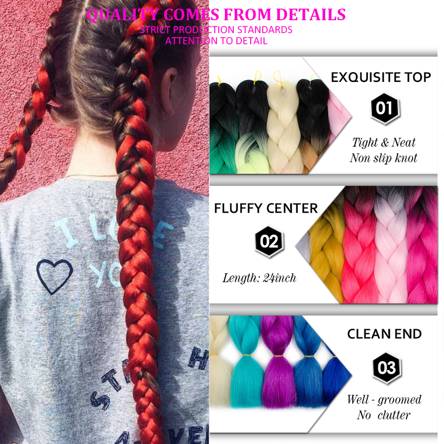 Nayoo Synthetic 24inch Crochet Box Braids Kanekalon Ombre Jumbo Braiding Hair Extension Braid Hair Pink Purple African Woman