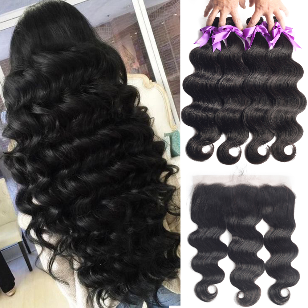 Human-Hair Hair-Extension Weaves Frontal Body-Wave-Bundles Brazilian with 13x4
