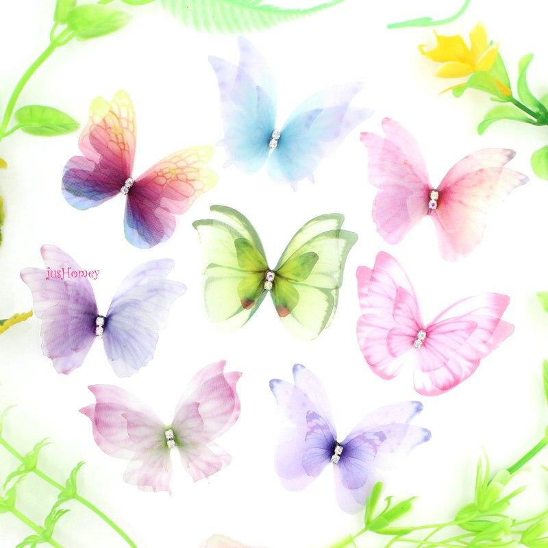 100PCS Three-layer Organza Butterflies AB Rhinestone Chiffon Butterfly Accessory Wedding Bridal Butterflies DIY Hair Jewelry