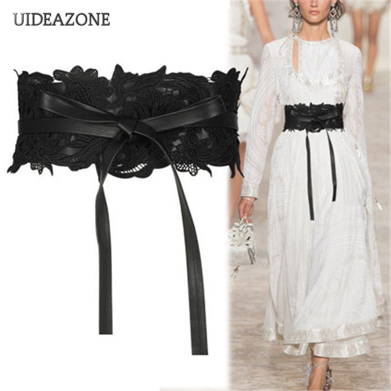 UIDEAZONE Vintage Women Waistband Elegant Gothic Stretch Ladies Wide Waist Belt Bandage Elastic Cinch Lace Patchwork