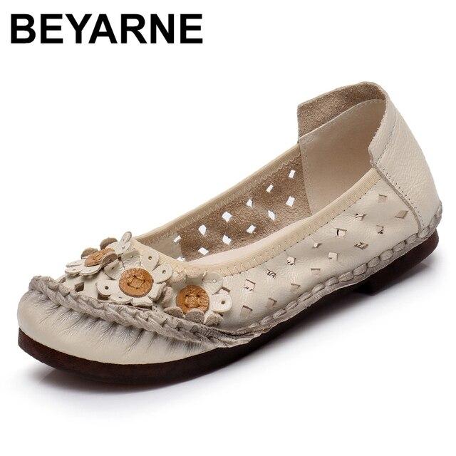BEYARNEsummer בעבודת יד פרח נעלי נשים אמיתי עור סנדלי נקבה מוקסינים לופרס רך outsole נעליים יומיומיות flatsE870