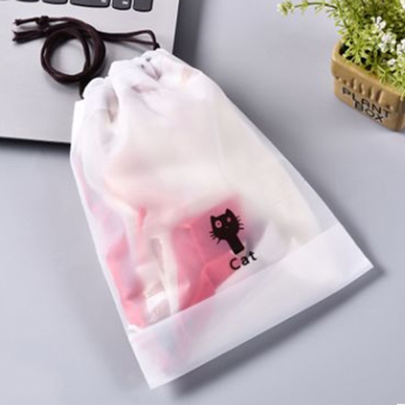 10pcs/pack Black Cat Transparent Drawstring Bag Women Bath Organizer Storage Pouch Toiletry Wash