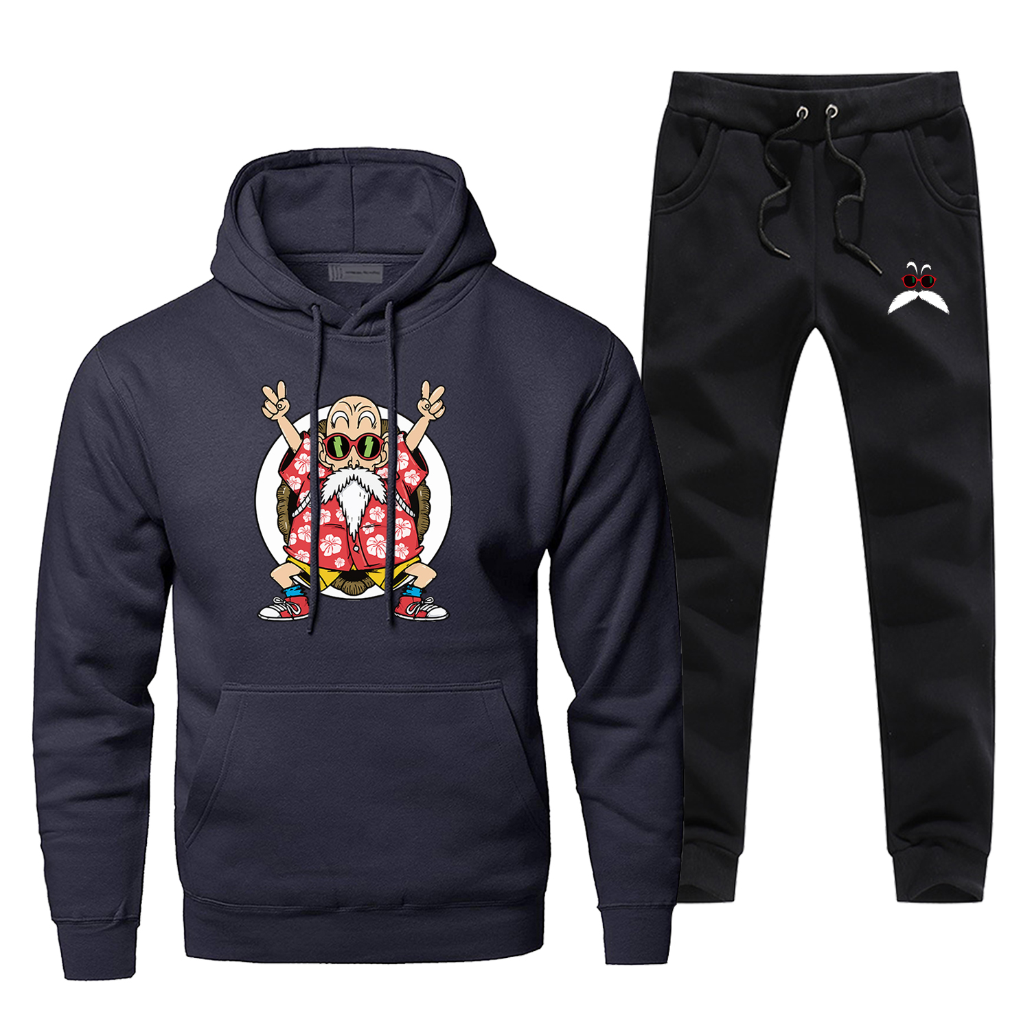 Japan Anime Dragon Ball 2 Piece Set Master Roshi Men's Sets Kame Sennin Harajuku Hoodies Sweatshirts Fleece Pants Chandal Hombre
