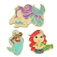 Logam Mermaid Bros dan Enamel Pin Wanita Sea-MAID Bros Syal Hat Pin(China)