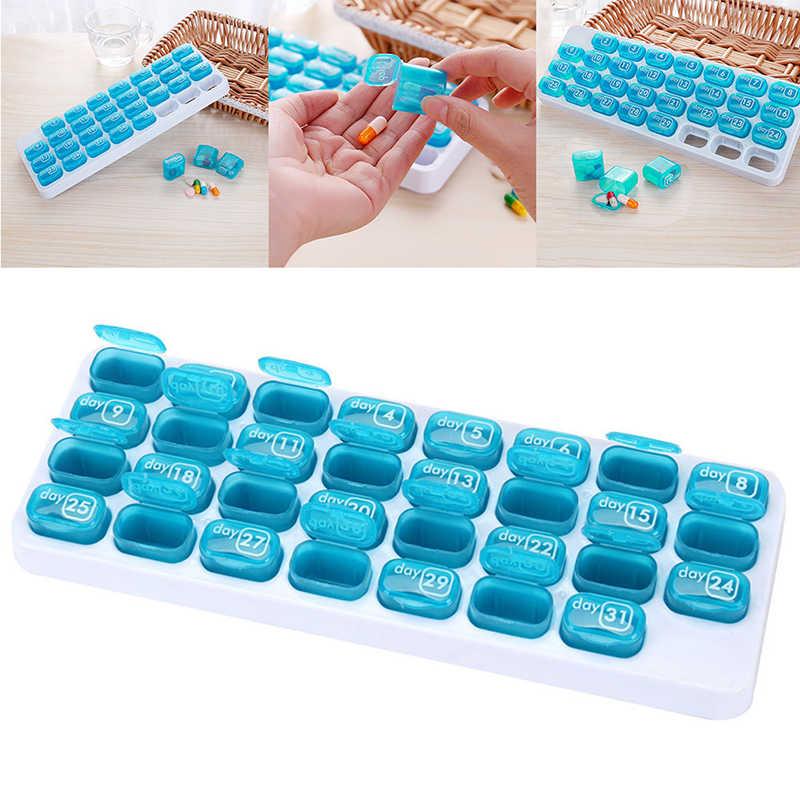 31 Grid Pil Kotak Perjalanan Obat Kasus Penyimpanan Obat Bulanan Kotak Obat Tablet Divider Obat Wadah Kapasitas Tinggi Splitter