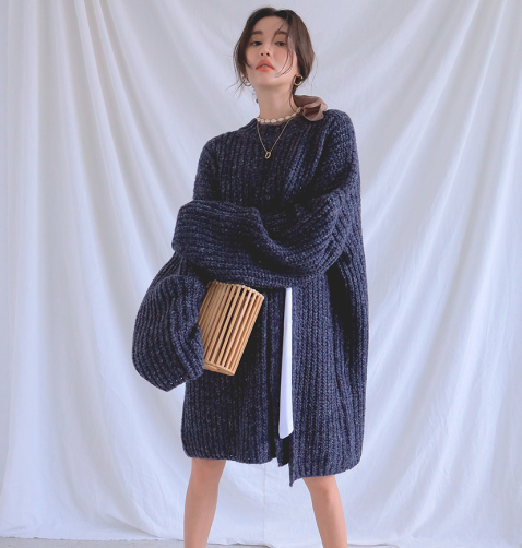 2019 Korean Lazy Style Pullover Knit Slit Straight Sweater