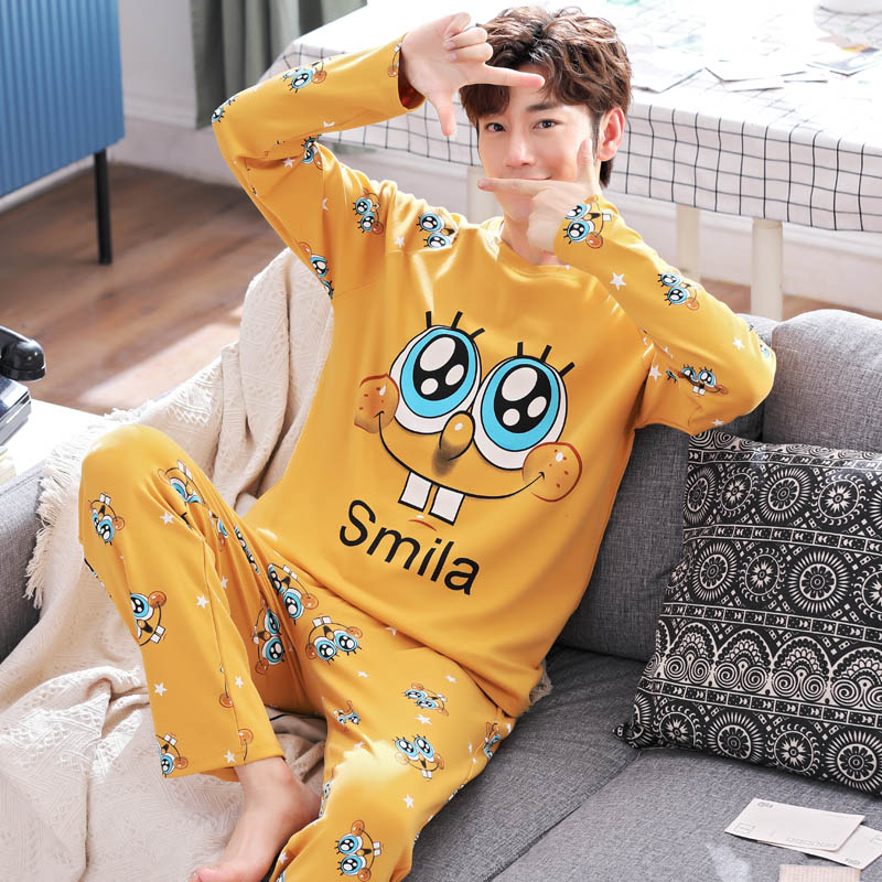 Yidanna Men's Pajamas Long Sleeve Pure Cotton Men's Spring And Autumn Winter Youth Leisure Cotton Household Suit