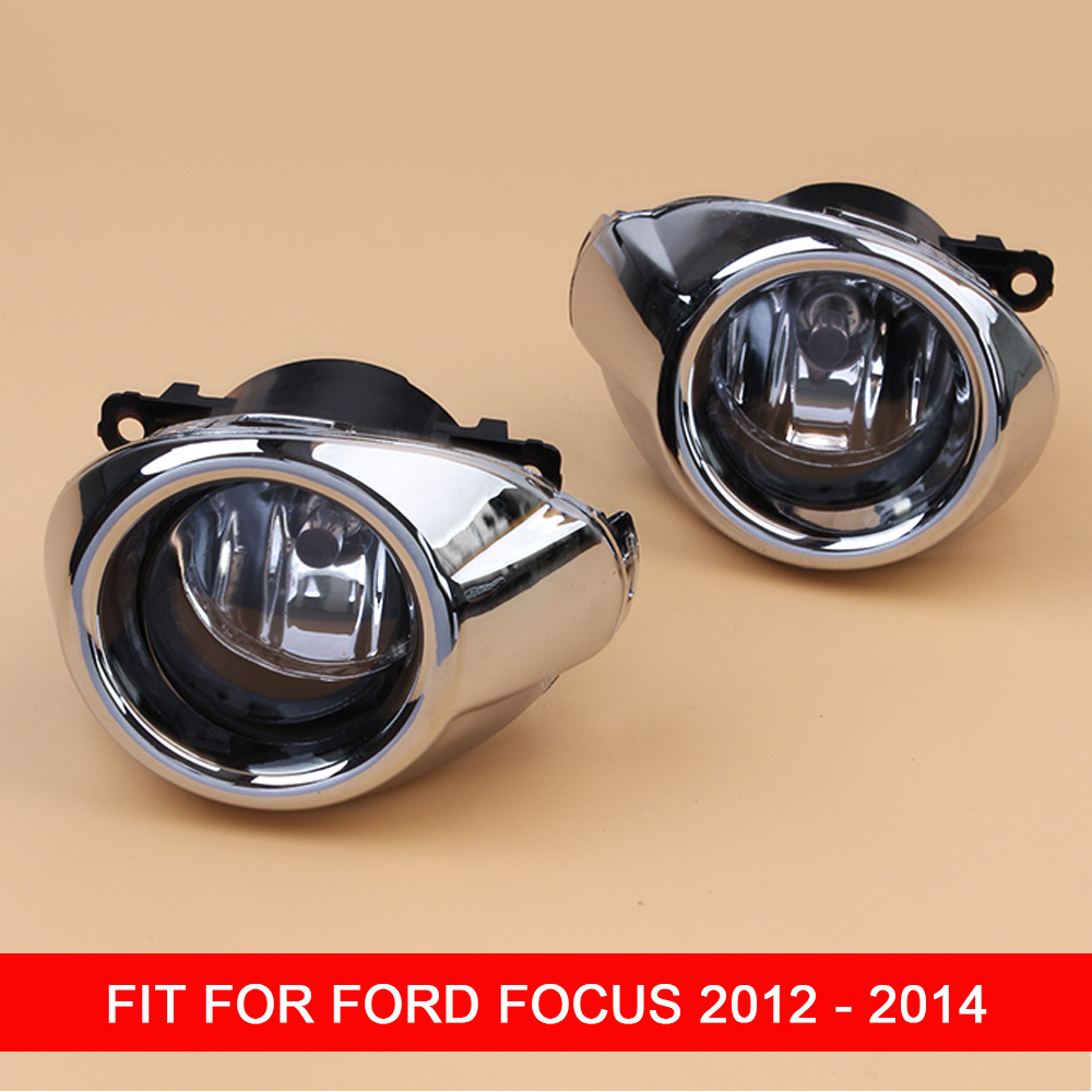 1 Pair 12V Car Fog Lamp Assembly with Fog <font><b>Light</b></font> Chrome Covers and Wire Relay Switch Button for <font><b>Ford</b></font> <font><b>Focus</b></font> <font><b>2012</b></font> 2013 2014 image