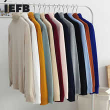 Wear Turtleneck Sweater Knitted-Tops Iefb/men's Long-Sleeve Thin-Style Male Solid
