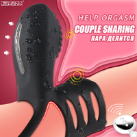 couples cock ring lock fine ring male with USB charging silicone wireless control clitoris vibration ring penis ring sex toys