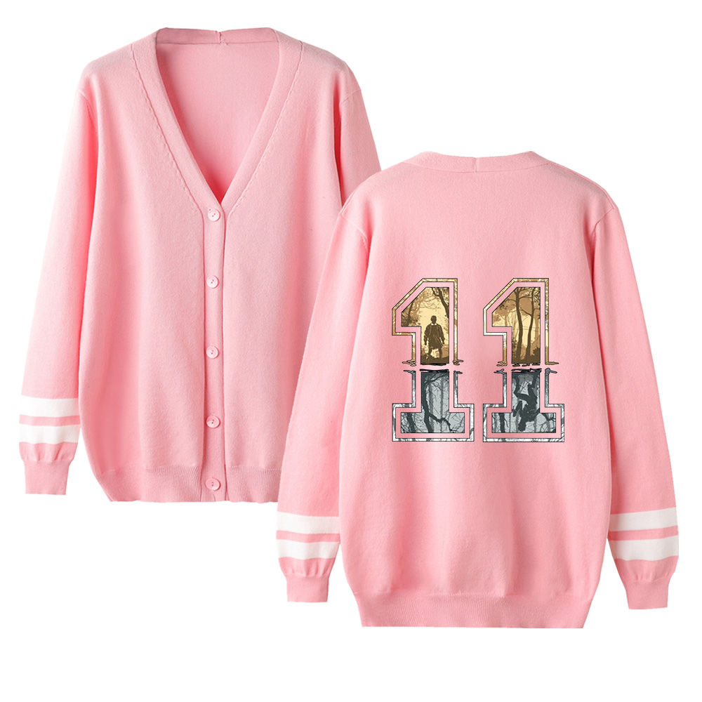 Stranger Things Cardigan Sweater Men/women Hot Fashion Casual V-neck Sweater Stranger Things Cardigan Sweater Pink Casual Tops