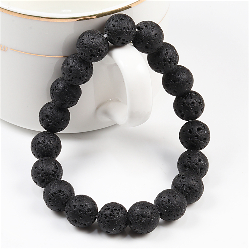 6mm 8mm 10mm Natural Volcanic Stone Beads Bracelets Black Lava Men Bracelet Aromatherapy Essential Oil Diffuser Bangle for Women