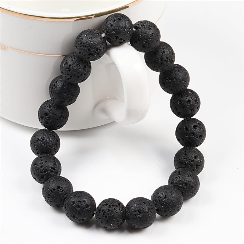6mm 8mm 10mm Natural Volcanic Stone Beads Bracelets Black Lava Men Bracelet Aromatherapy Essential Oil Diffuser Bangle for Women(China)