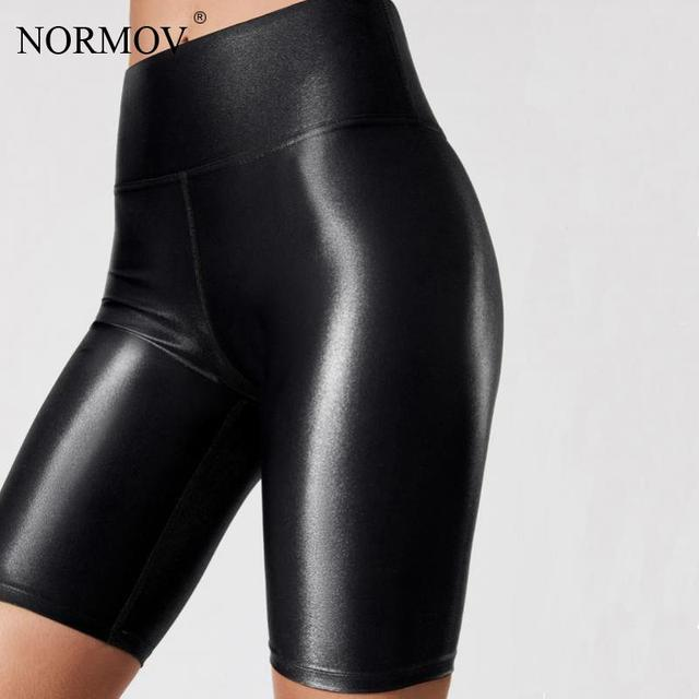 NORMOV Shorts Pu High Waist Sexy Summer Fashion Pu Leather Shorts Push Up Womens Female Elastic Skinny Solid Color Legging 1