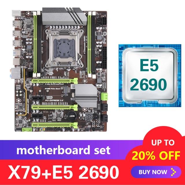 Kllisre X79 motherboard set with Xeon E5 2690 LGA 2011 support DDR3 ECC REG memory ATX USB3.0 SATA3 PCI E NVME M.2 SSD