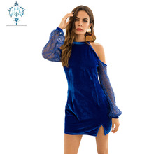 CURLY 2019 summer autumn women lace Hollow out Long-sleeve strapless Elegant dress sexy Collage stand-neck slim mini