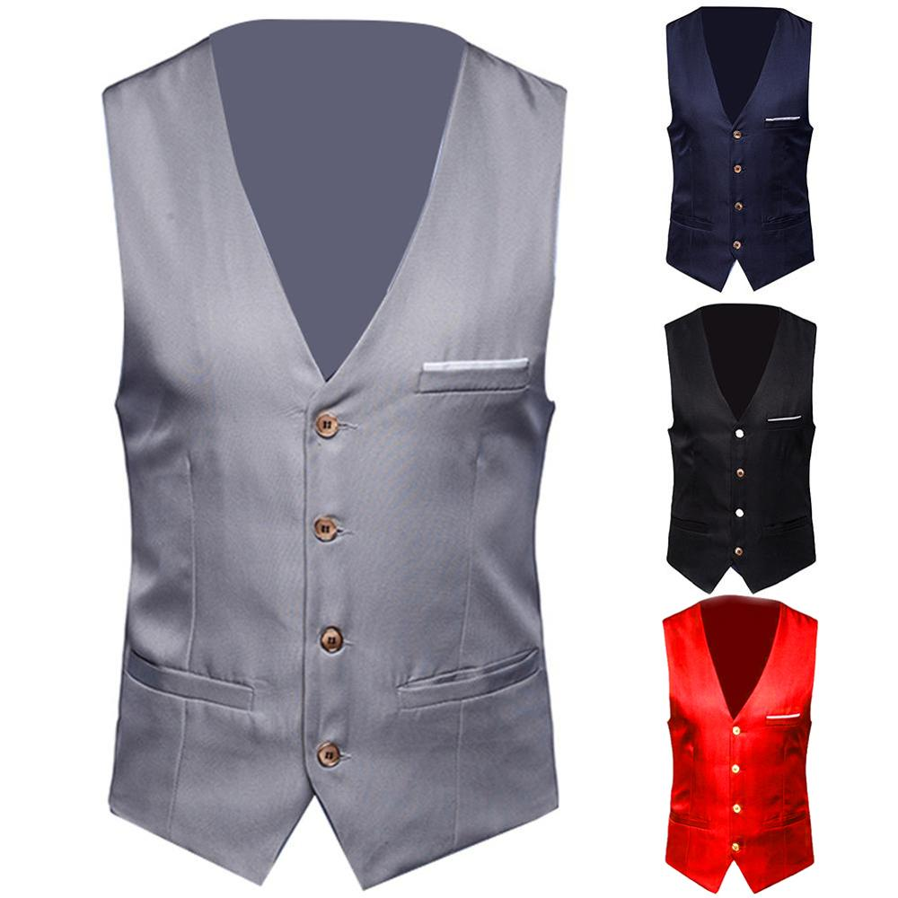 Dress Vests For Men Slim Fits Mens Suit Vest Male Waistcoat Gilet Homme Casual Sleeveless Formal Business Vest Chaleco Hombre