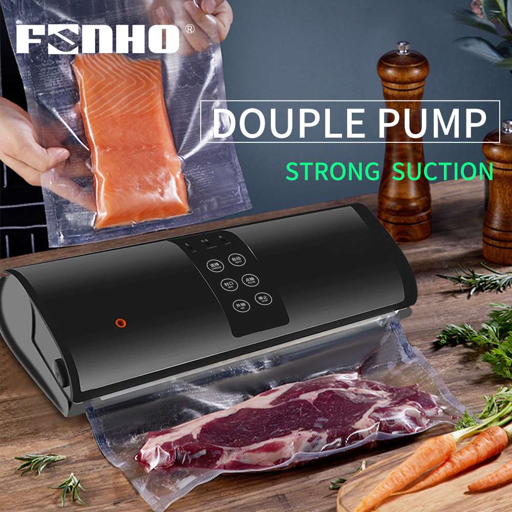 FUNHO Automatic Vacuum Air Sealer 220V/110V Food Packing Machine With 15 Free Bags Best Portable Vacuum Packer For Kitchen
