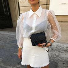 Women Chiffon Blouse Shirt Summer Sexy Transparent Mesh Beading Puff Sleeve Female Office Shirts Lady Blouse Outfits sexy snake printed blouse shirt office lady puff sleeve casual shirts female elegant spring autumn blouse tops