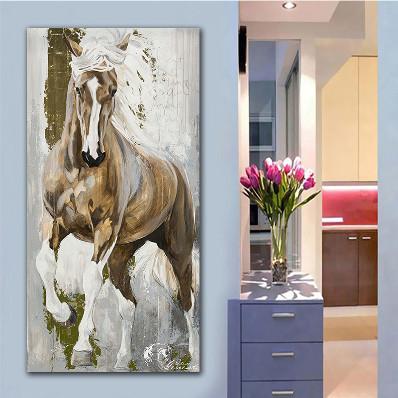GoldLife Modern Horse Canvas Painting Animals Wall Art Pop Poster Painting Big Size Canvas Painting For Living Room No Frame
