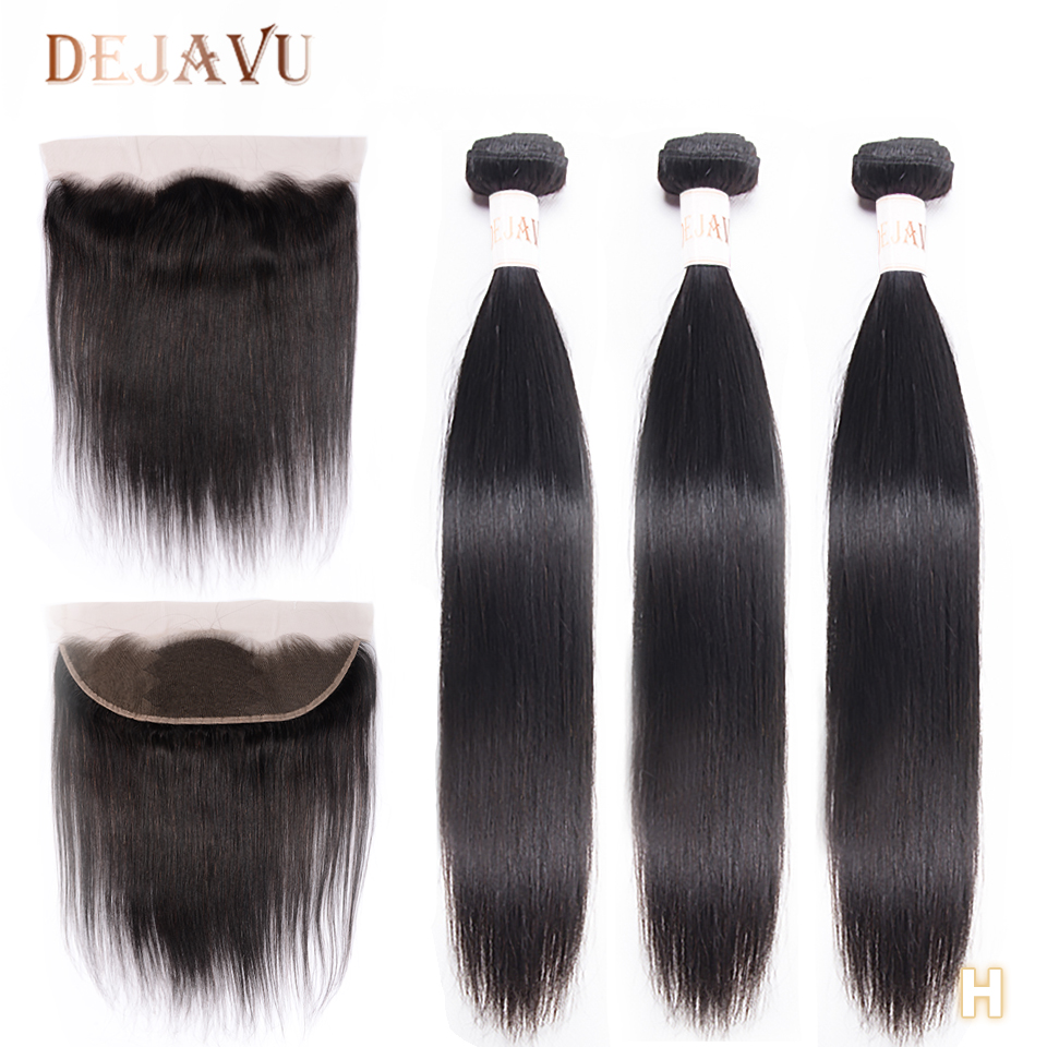 Dejavu 13x4 Frontal With 3 Bundles Peruvian Straight 100% Human Hair Bundles With Closure Non-Remy Hair Ear To Ear Lace Frontal
