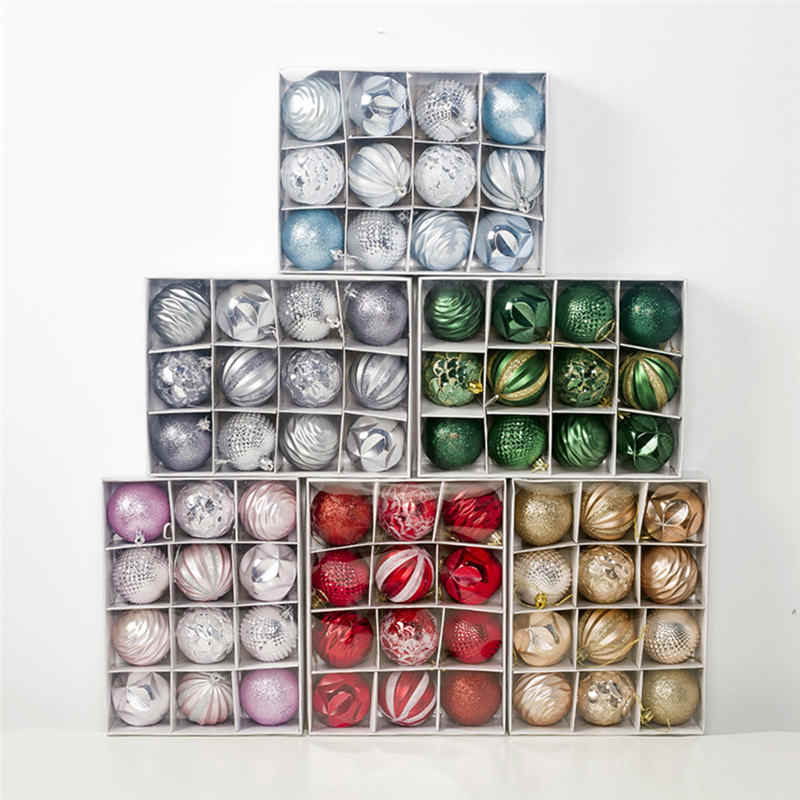 12Pcs 6cm Christmas Ball Ornaments For Xmas Tree Bauble Hanging Pendant Decoration Supplies Party Decor Gift Christmas Ball Tree