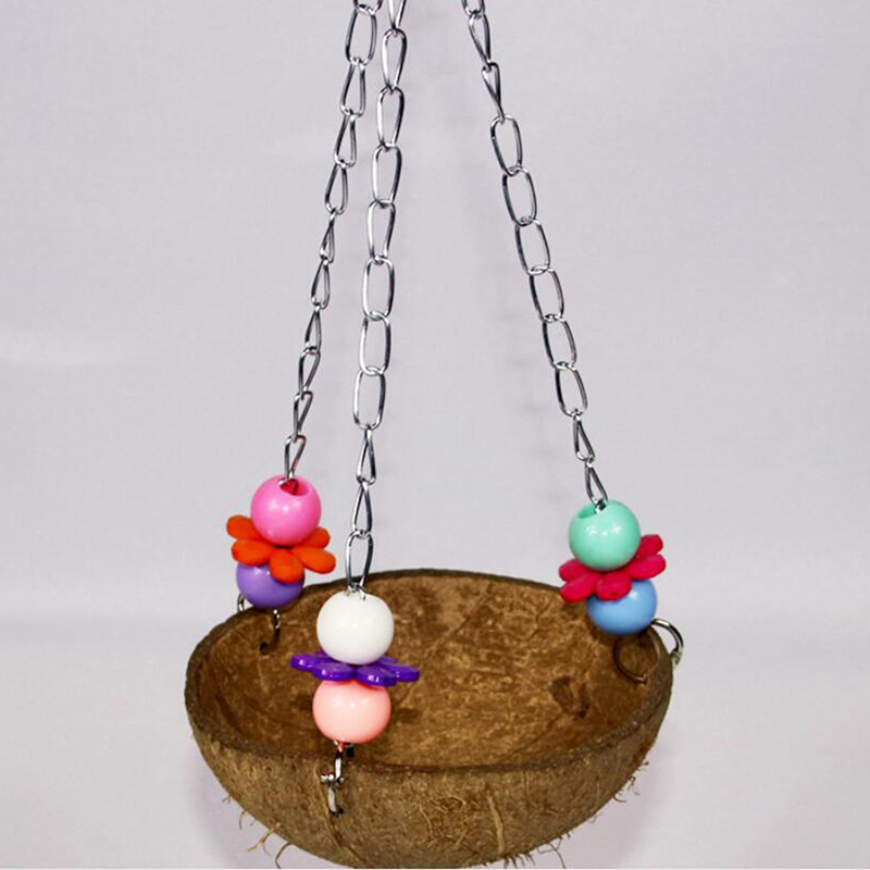 Bird Parrot Coconut Shell Swing Nests Wire Cage Hanging Chew Toy Funny Chain Hanging Cage Pet Bird Supplies
