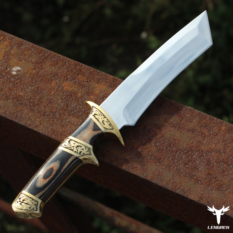 LENGREN D2 steel Japanese mirror knife 59-60hrc vacuum heat treatment sharp camping hunting knife series  samurai style